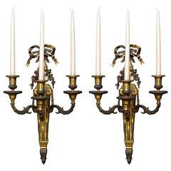 Pair of Monumental Gilt Bronze Louis XVI Style Sconces