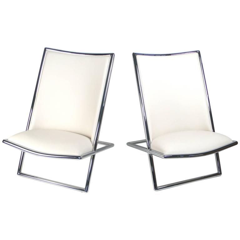 Ward Bennett Scissor lounge chairs, 1980s