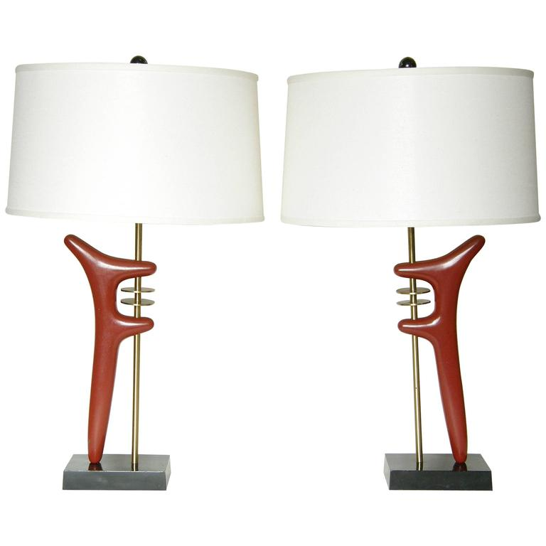 Pair of Sculptural Brass and Enameled Metal Table Lamps For Sale
