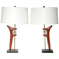 Pair of Sculptural Brass and Enameled Metal Table Lamps