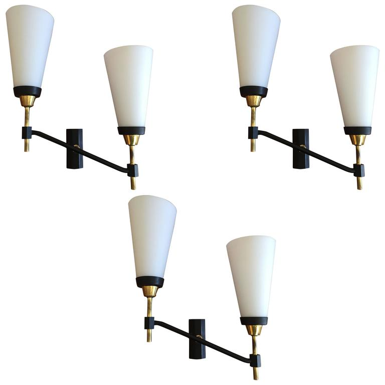 Large Set of Three French 1950s Lunel Wall Lights 1