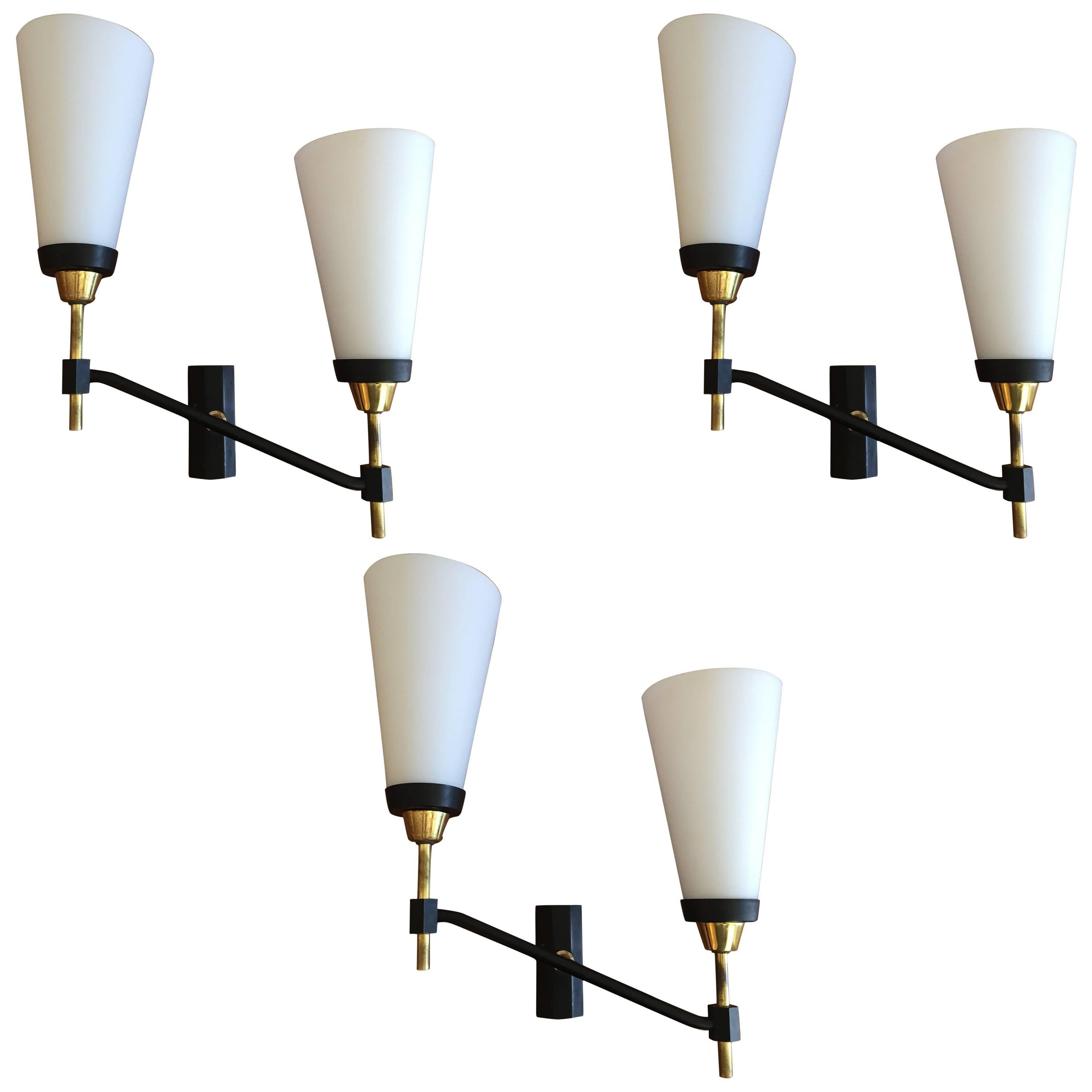 Large Set of Three French 1950s Lunel Wall Lights