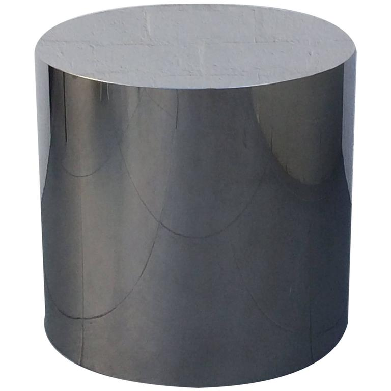 Large Seamless Polished Stainless Steel Drum Table Base By Pace Collection  For Sale