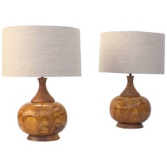Large Pair of Drip Glazed Ceramic Lamps