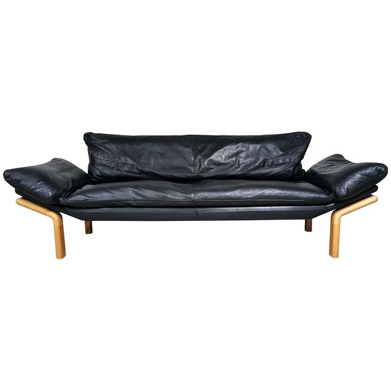 Mid century danish modern sofa by komfort in black leather at 1stdibs Sofa bequem komfort