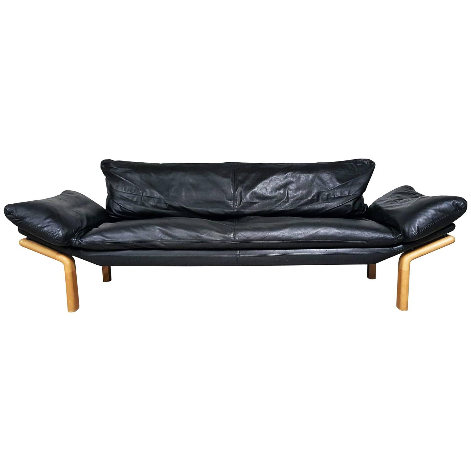 mid century danish modern sofa by komfort in black leather at 1stdibs