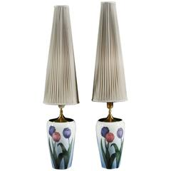 Pair of Danish Tulip Decorated Porcelain Lamps by Bing and Grondahl