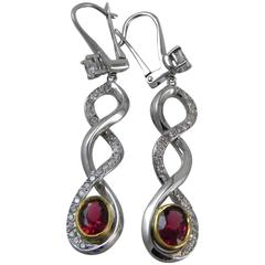 """The Kings Ruby"" 18-Karat White Gold Red Spinel and Diamond Drop Earrings"
