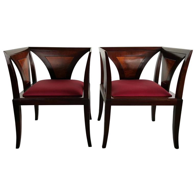 Pair Art Deco Even Arm Chairs Manner Of Eliel Saarinen At