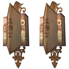 1930s Pair of Bronze and Frosted Glass Art Deco Sconces