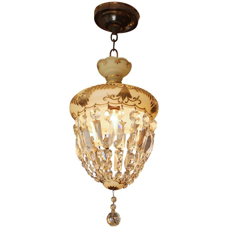 1910s brass glass basket pendant light