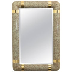 Karl Springer Style Faux Parchment and Brass Mirror