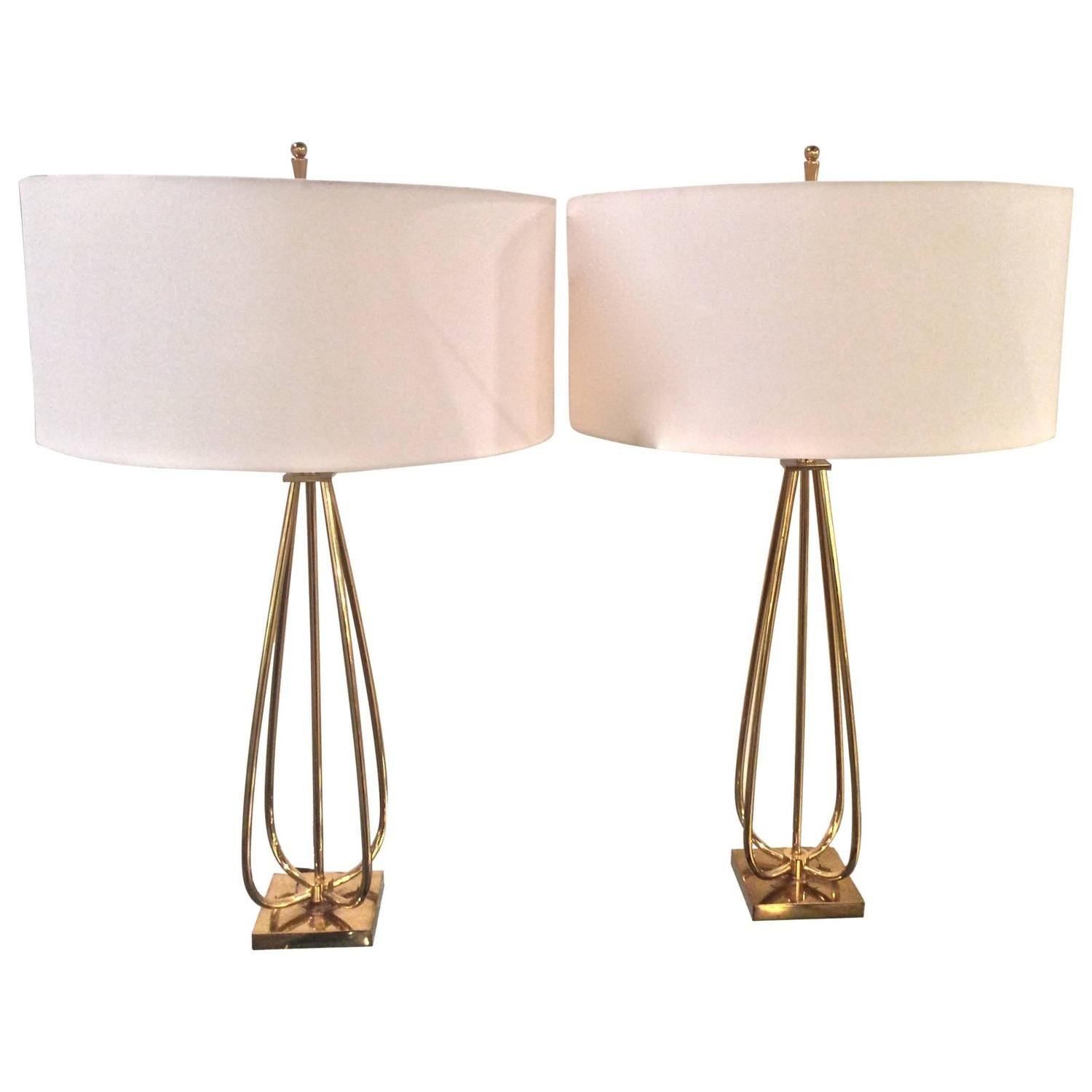 mid century modern brass table lamps at 1stdibs. Black Bedroom Furniture Sets. Home Design Ideas