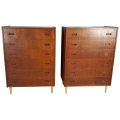 Pair of Arne Vodder for Falster Teak Danish Bachelor's Chests