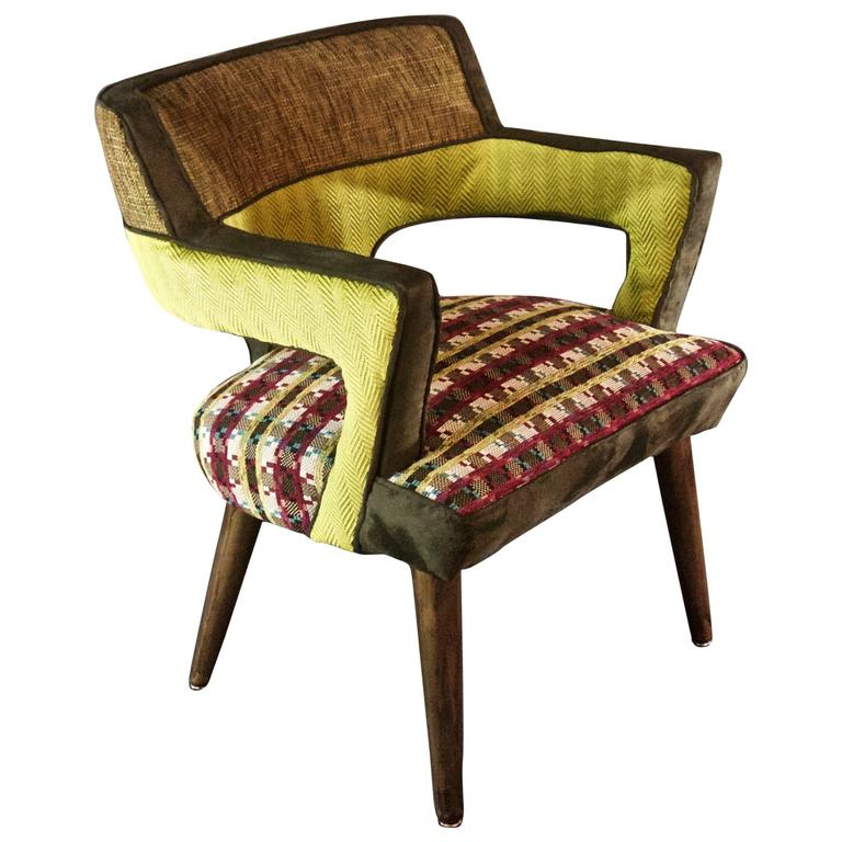 1960's Arm Chair in Tweed with Multi-Color Seat--in stock