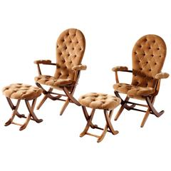 Pair of Adjustable Chairs with Ottoman