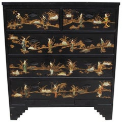 Chinese Black Lacquered & Stenciled Graduated Five Drawer Chest.  20th Century