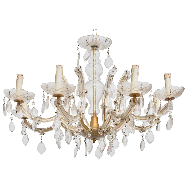 Hollywood Regency Eight Light Crystal Chandelier