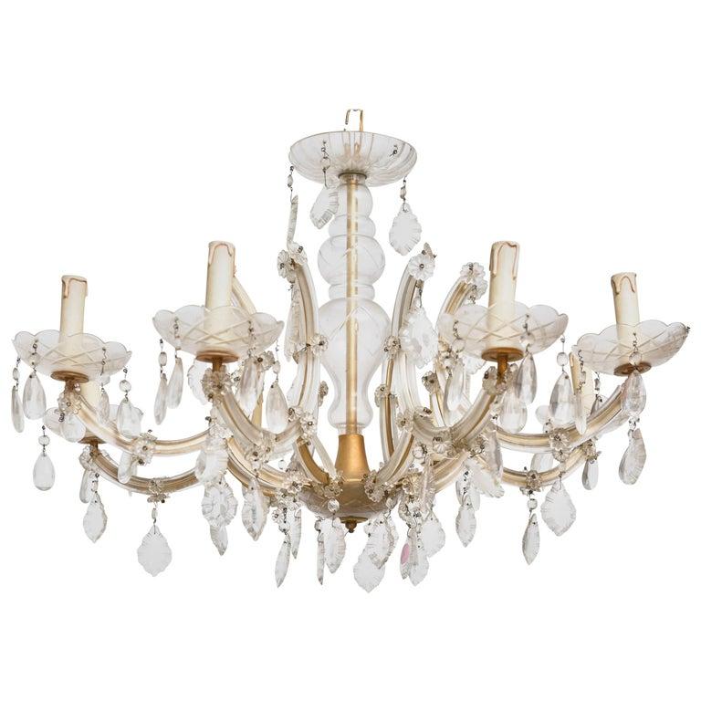 Hollywood Regency Eight Light Crystal Chandelier For Sale