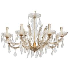 Hollywood Regency Eight Light Crystal Chandelier