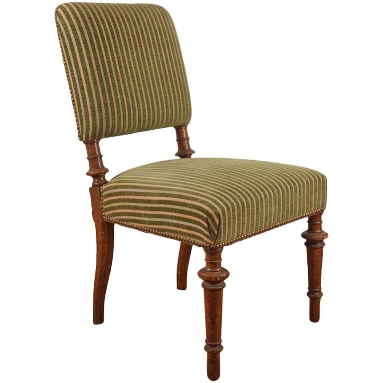 Green striped vintage chair at 1stdibs for Striped upholstered dining chairs
