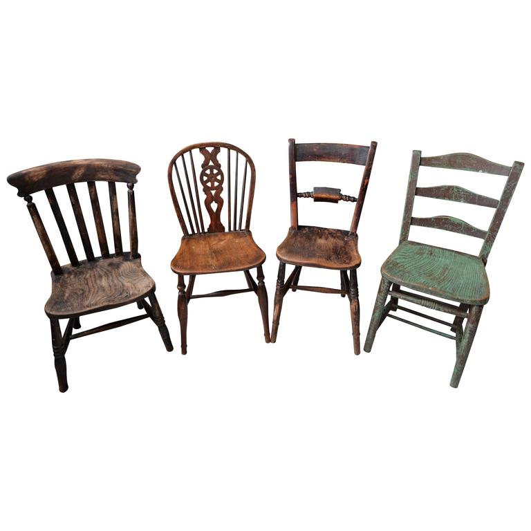 Set Of Four Rustic Wooden Chairs At 1stdibs