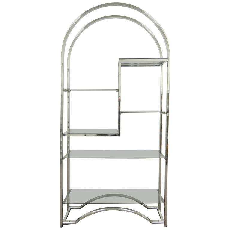 Mid Century Modern Chrome & Smoked Glass Arched Etagere after Milo Baughman For Sale