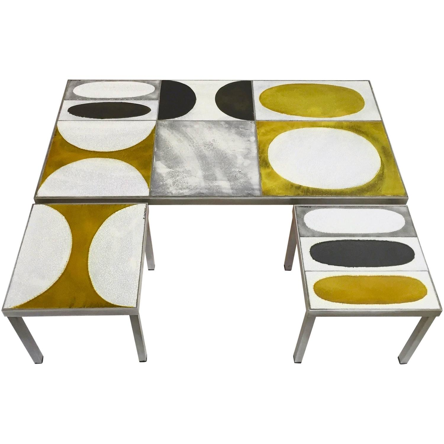 Exceptional set of coffee table and side tables by roger for Side coffee table set