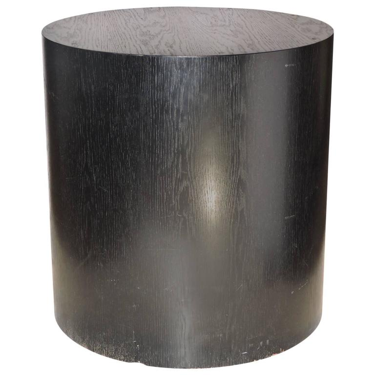 Large Ebonized Wood Cylinder Pedestal Table At 1stdibs