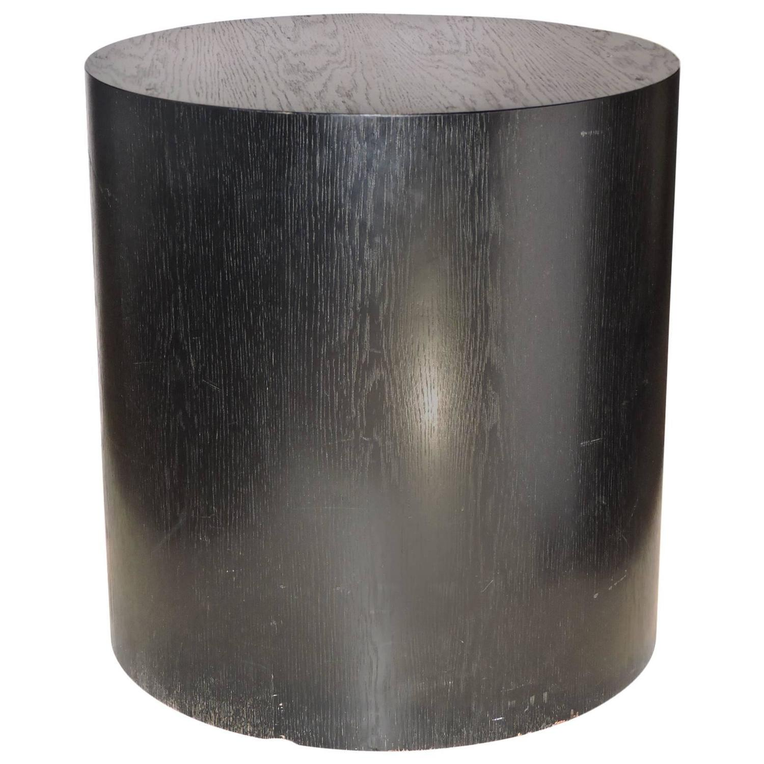 Large ebonized wood cylinder pedestal table at stdibs