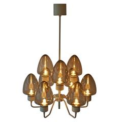 Mid-Century Swedish Glass Chandelier by Hans-Agne Jakobsson