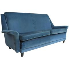 Two-Seat Sofa in Original Blue Velvet, Italy, 1950s