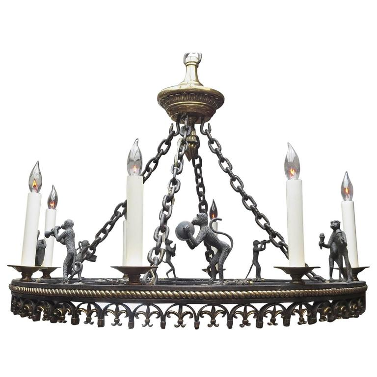 Bronze Monkey Band Chandelier By Maitland Smith For