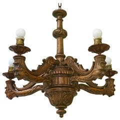 Pretty Gruesome Rare Finest Carved Wood Art Nouveau Five-Light Chandelier