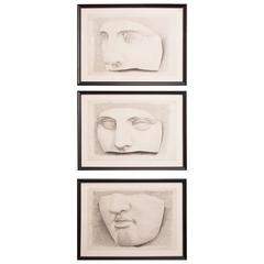 Set of Three Framed, Vintage Graphite Drawings of Classical Sculpture