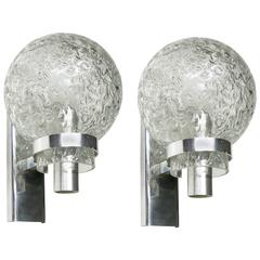Pair of Sconces chrome with textured glass shade Circa 1970 Made in Italy