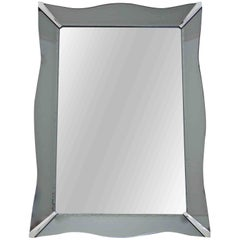 French Style Art Deco Etched Curved Edge Smoke Glass Wall Mirror