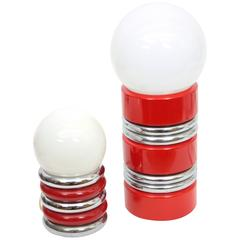 Pair of Vintage Chrome and Red Enamel Globe Table Lamps, Spain 1970s