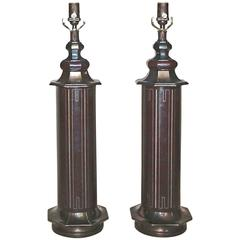 Pair Parzinger Style Tooled Leather Table Lamps