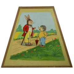 1950s Carousel Panel with Mr Hare and Hedgehog