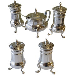 Five-Piece Sterling Silver Condiment Set and Spoon Retailed by Birks