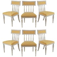 Set of Six Swedish Gustavian Painted Dining or Side Chairs