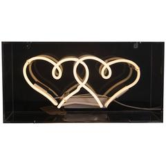 Twin Neon Hearts in Clear Acrylic Box