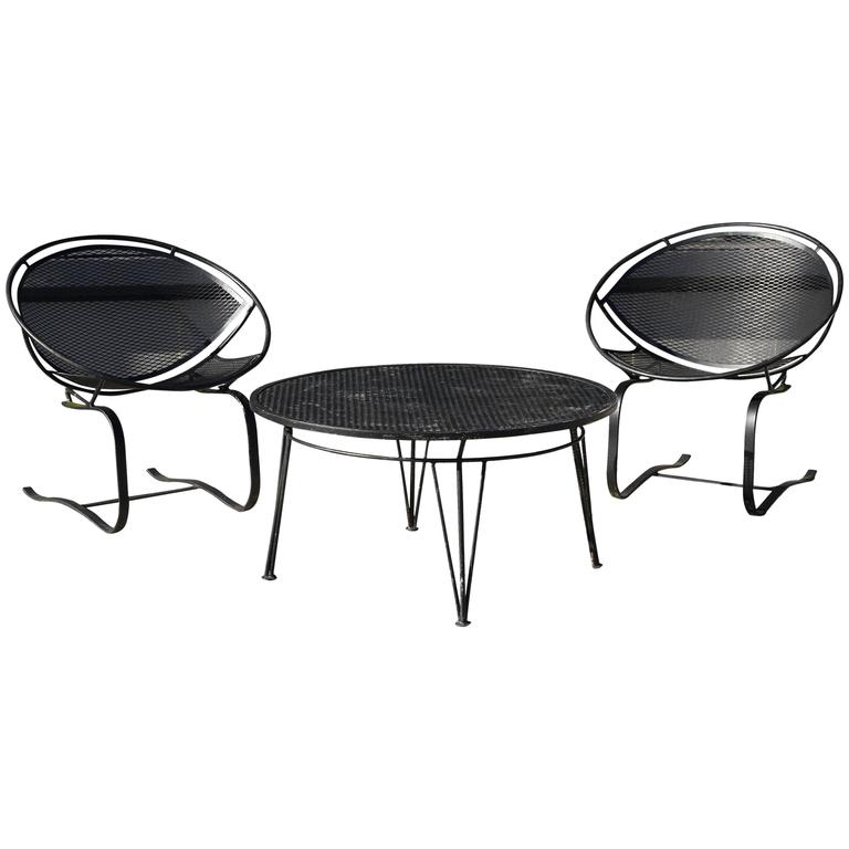 Pair of Salterini Springer Hoop Chairs and Table 1