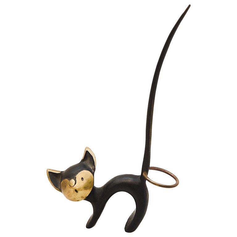 Walter Bosse Brass Cat Figurine Pretzel Holder, Ring Holder