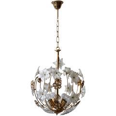 Hollywood-Regency Style Brass Chandelier