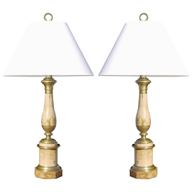 Pair of Late 19th Century French Faux Travertine Tole Lamps 1