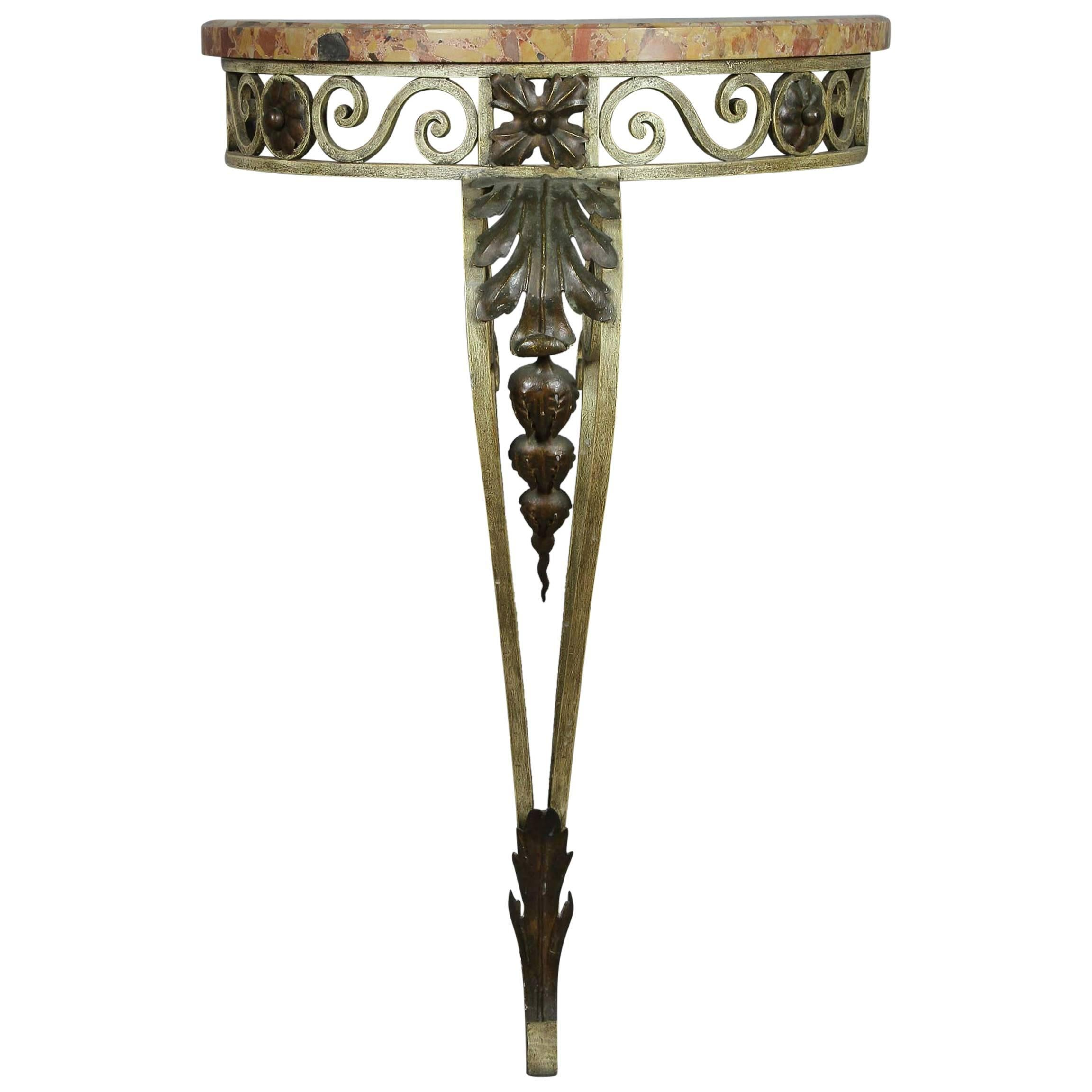 Louis XVI Style Wrought Iron and Marble-Top Petite Demilune Console Table