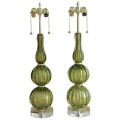 Pair of Absinthe Colored Ribbed Murano Seguso Glass Lamps