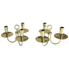 Pair of Parzinger Three-Arm Brass Candelabras